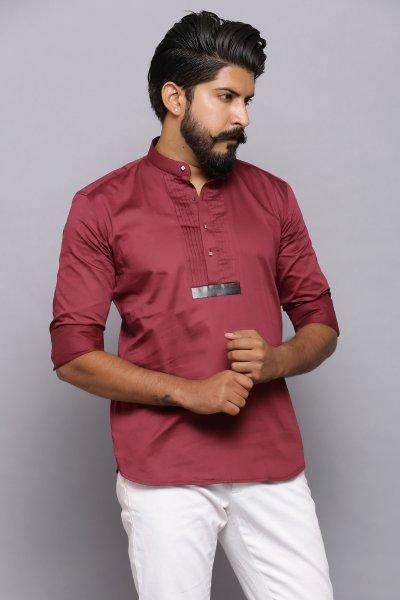 Maroon pleated kurta shirt