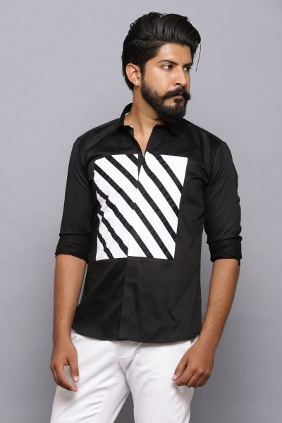 Black diagonal zebra line shirt