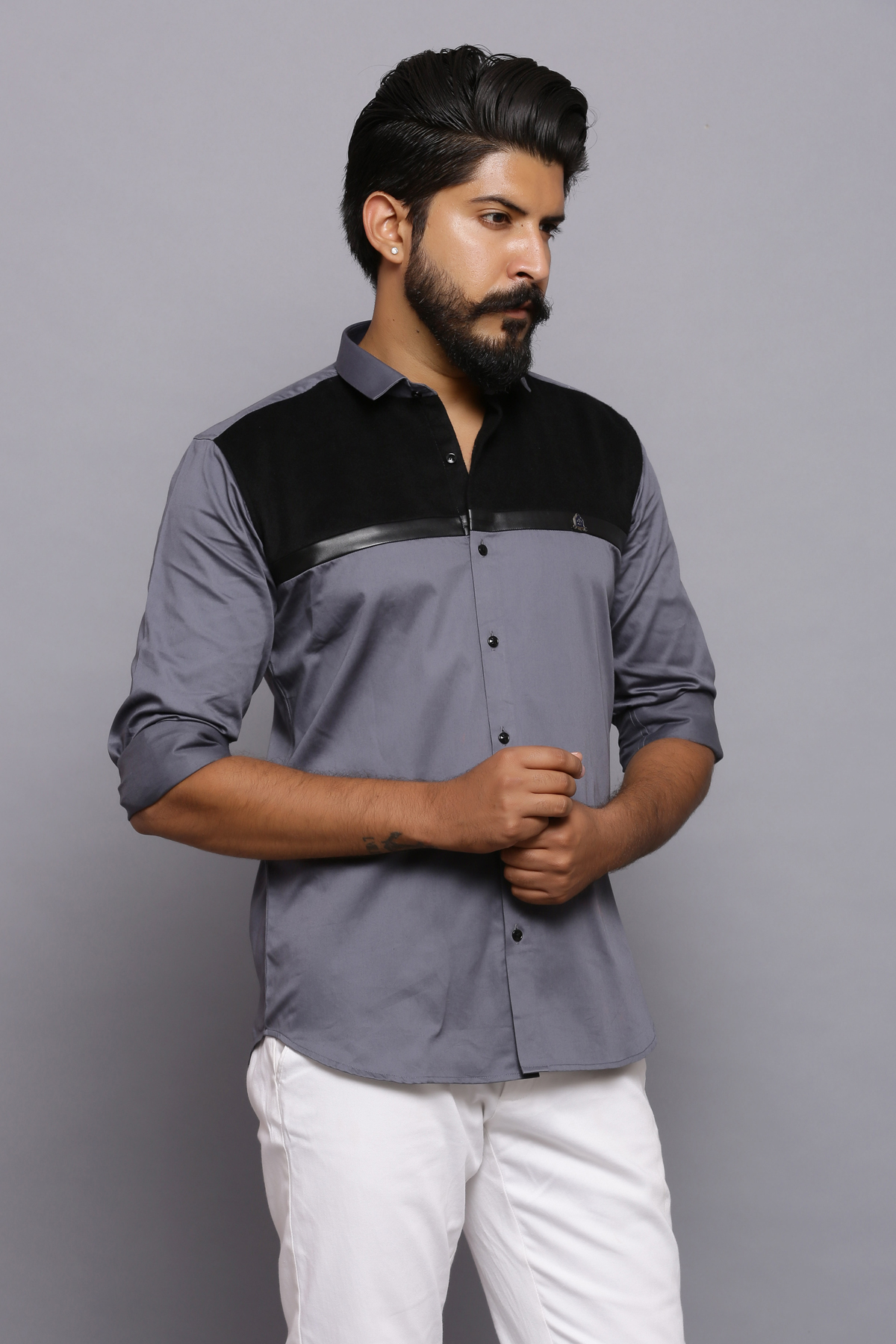 Baa Baa Black wool patch shirt
