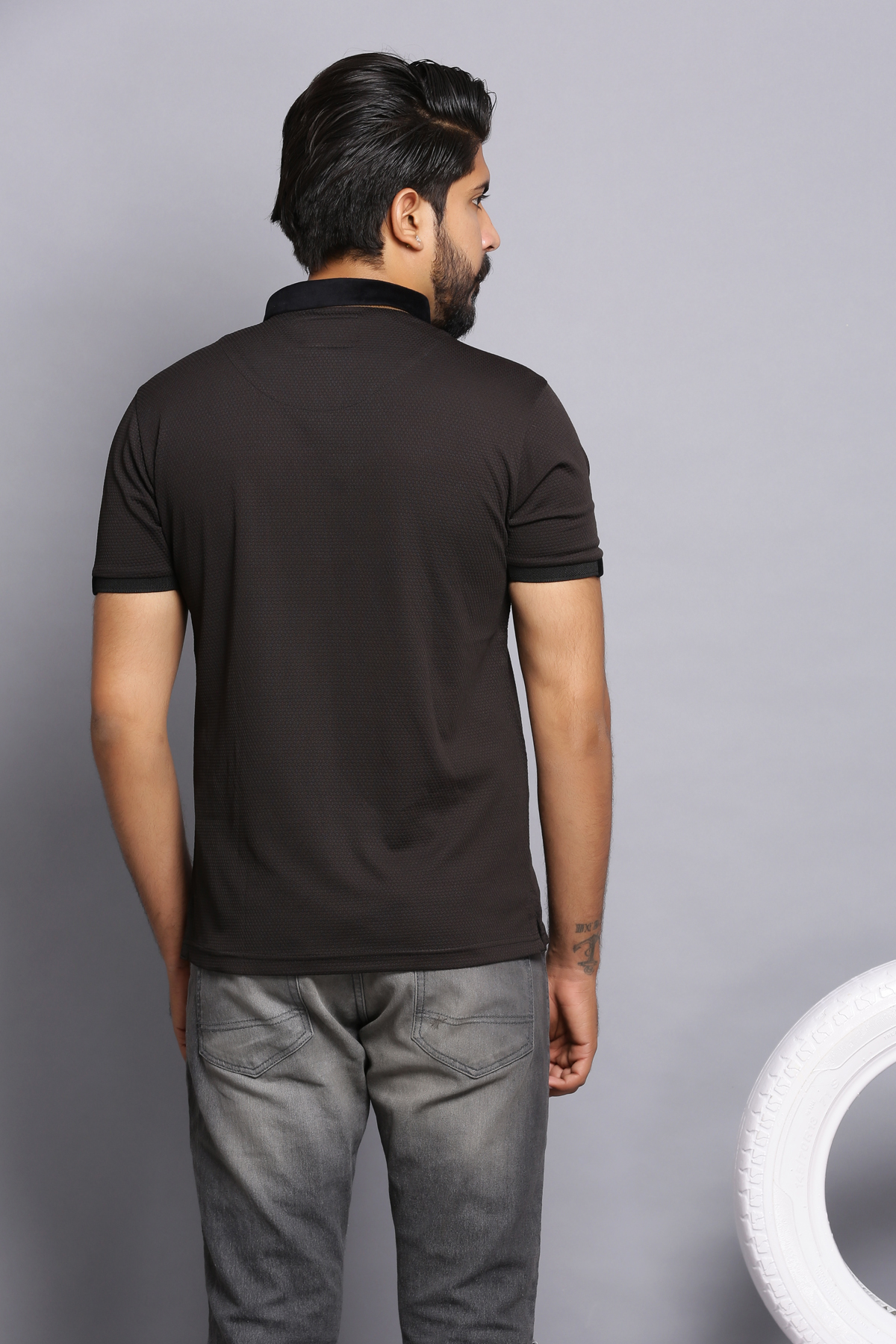 Zipper polo shirt- black