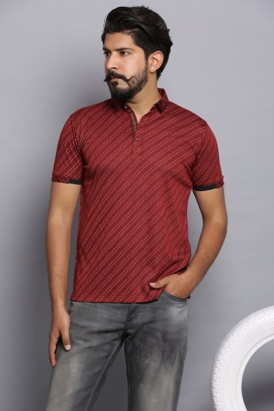 No show stripes polo shirt- garnet red