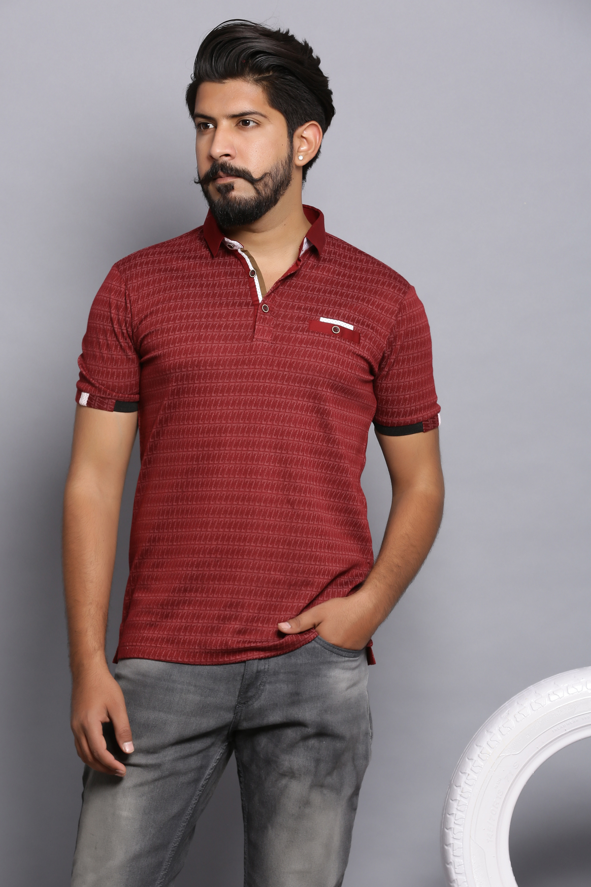 Dancing houndstooth polo shirt - sangria red