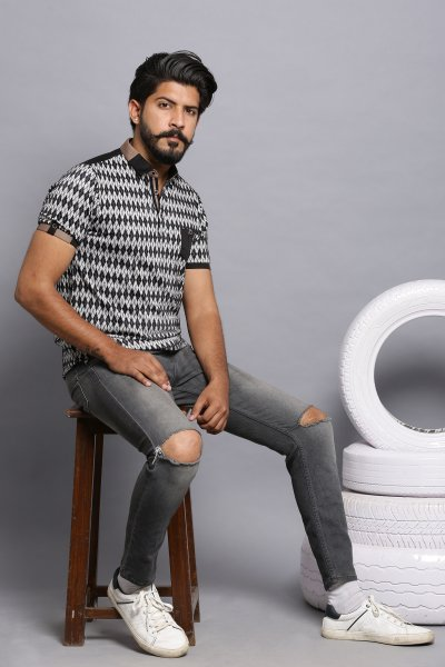 Jacquard rule polo shirt