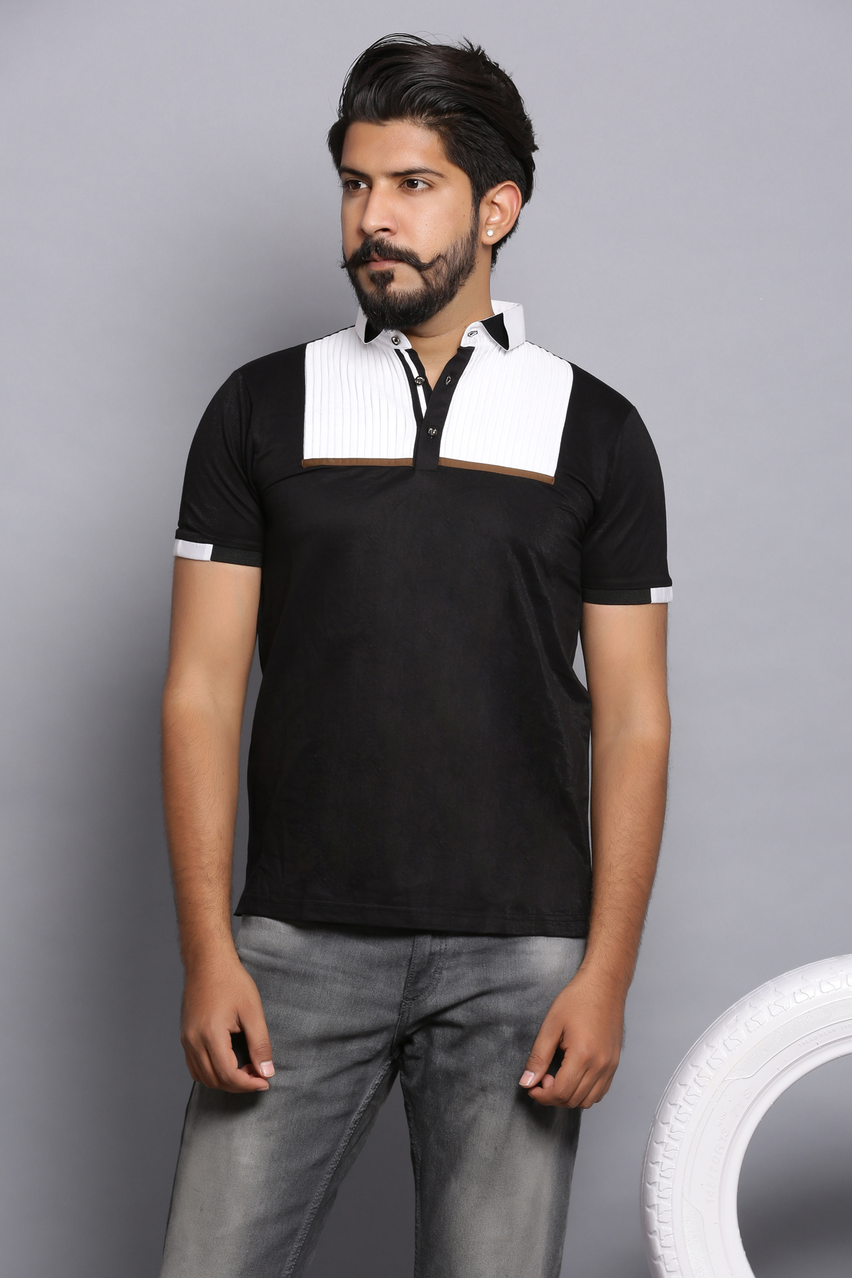 Dressed up polo shirt-black