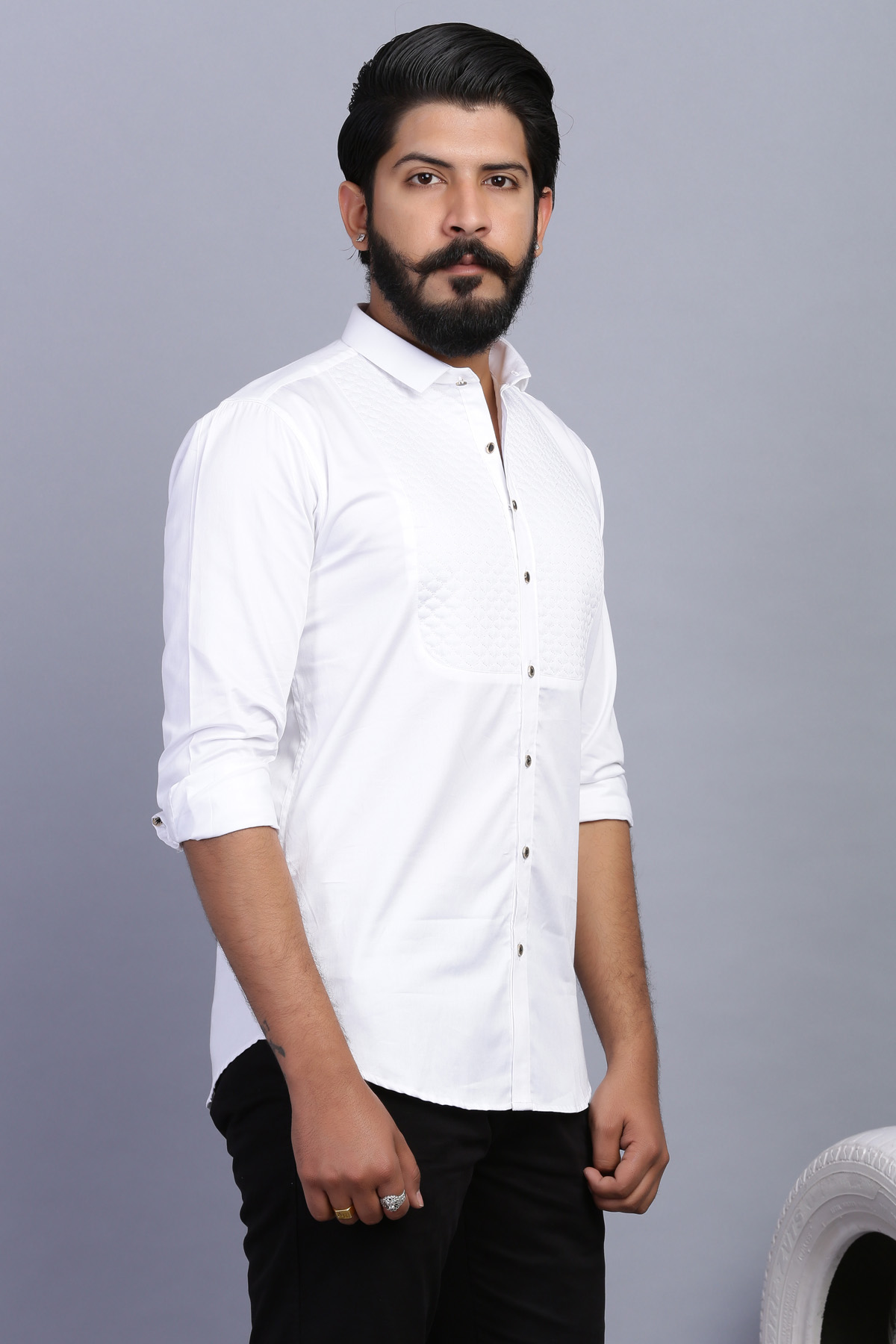 White Quilted Shirt