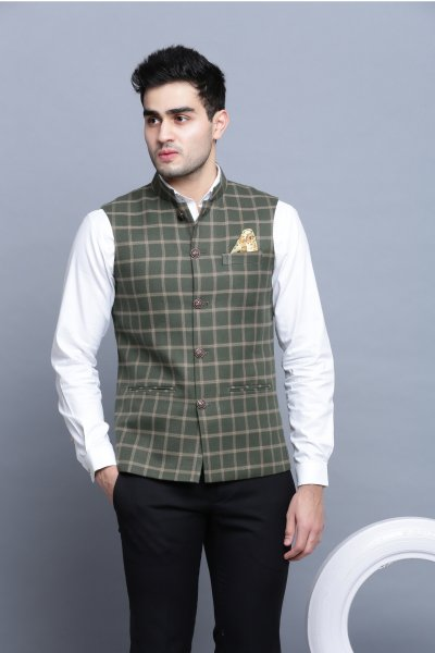 Fern Plaid Nehru Jacket