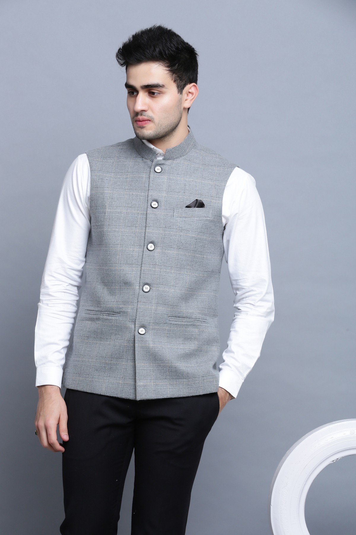 Grey formal check and mate nehru jacket