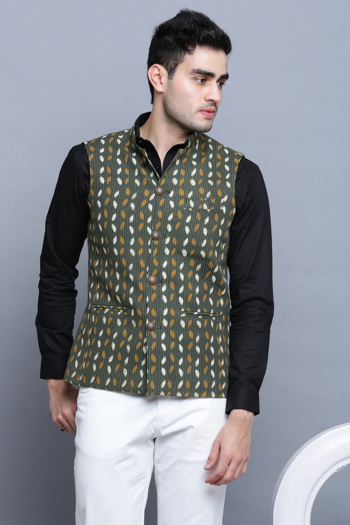 Green Katha Leaf Nehru Jacket