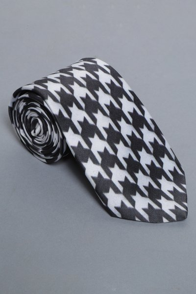 Houndstooth white and black tie & pocket square