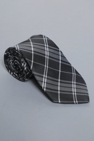 Black chequered tie & pocket square